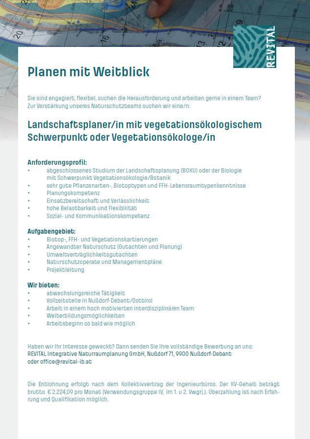 Landschaftsplaner mit vegetationsökologischem Schwerpunkt oder Vegetationsökologen