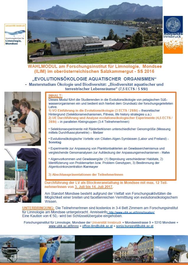 Wahlmodul am Forschungsinstitut für Limnologie, Mondsee