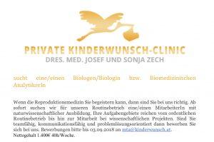 Stellenausschreibung Kinderwunschclinic